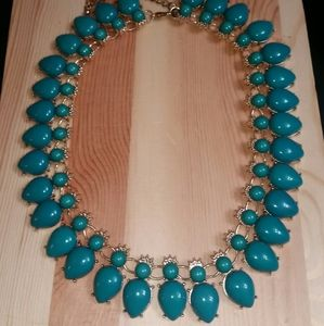 Gold Tone & Faux Turquoise Bead Statement Necklace